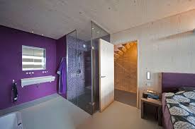Shower In Bedroom Design Glass Shower Purple Walls Bedroom Eco Friendly House In Amsterdam