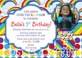 over the rainbow birthday invitation printable just click print