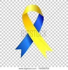 blue and yellow ribbon world awareness sign vector photo bigstock