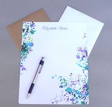 personalized stationery set stationary paper 5 x 7 and 8 x 10 personalized stationery set