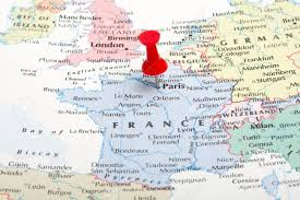 Marseilles France Map by A Red Map Pin Pointing At Paris France Stock Photo Picture And
