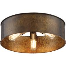 nuvo lighting kettle weathered brass three light flush mount on sale