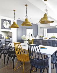 modern kitchen with yellow and grey accessories dining