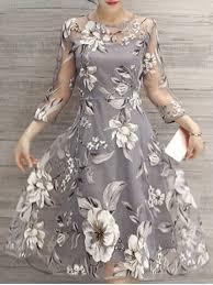 light gray s flower print midi organza dress rosegal com