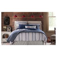 Chambray Duvet Cover Queen Sunnyside Chambray Striped Quilt And Sham Set King Blue 3 Piece