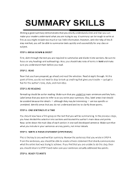 sample of summary of qualifications skills summary okl mindsprout co