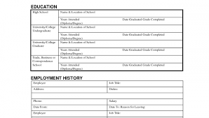 free employment application form template free job application