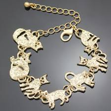 chain link bracelet charms images Egyptian gold plated cat charm chain link bracelet cameow jpg