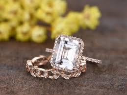 big emerald cut white topaz wedding set 14k rose gold diamond