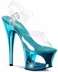 Sho Clear moon 708dmch clear teal mirrored cut out platform rhinestone