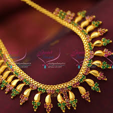 fashion jewellery necklace sets images Nl5195 ruby emerald fancy design imitation jewellery necklace set JPG