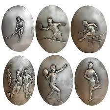 deco plaque metal super rare set of 1930s art deco sporting metal plaques at 1stdibs