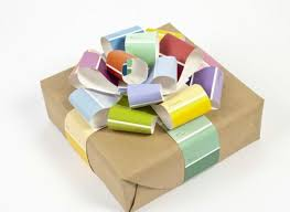 wrapped gift box a gift wrapping idea using paint chips that s beautiful and easy