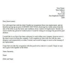 resignation letter sample resignation letter 1 week notice