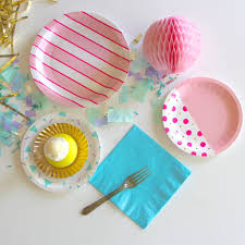 party goods flamingo pink stripe plates bash party goods