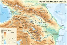 Map Of The South Physical Map Of The South Caucasus Grid Arendal
