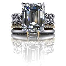 stackable engagement rings stackable bridal set emerald cut engagement ring insieme