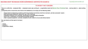 Production Supervisor Job Description For Resume by Machine Shop Production Worker Work Experience Letters