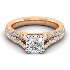cushion cut split shank engagement rings janelle 14k white and gold cushion cut split shank engagement