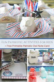 fun patriotic activities for kids printable owl note card