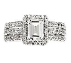qvc wedding bands diamonique 2 95 cttw 2 pc ring jacket set platinum clad ring