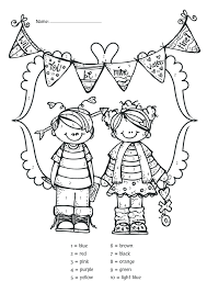 coloring pages valentines color by number valentine color by