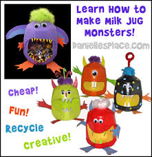 Halloween Decorations Using Milk Jugs - learn how to make milk jug monsters for halloween from www