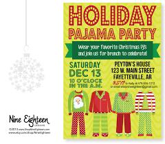 christmas pajama party invitation custom by nineeighteen on etsy