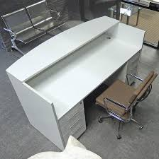 White Reception Desk White Reception Desk W Frosted Glass Panel