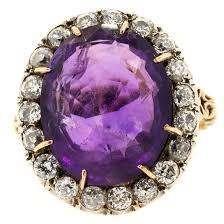 14k gold large diamond amethyst 1930s russian amethyst diamond silver gold ring at 1stdibs