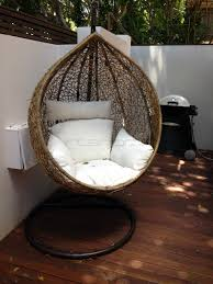 Hanging Garden Chairs Outdoor Hanging Ball Chair White Cushion Brown Interior Secrets