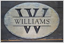 monogram name plaque carved family sign house