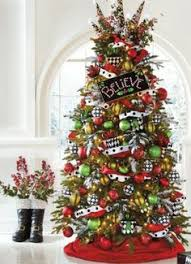lime green red and black and white patterns christmas tree