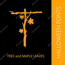 halloween text symbols halloween alphabet letter t consist of tree and maple leaves