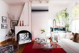 White Bedroom With Red Accents Stylish 325 Sq Ft Studio Uses Clever Design To Create The Feeling