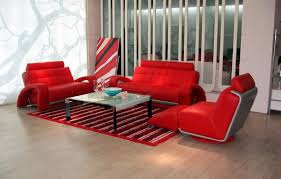 vig furniture contemporary bentley red leather 3 pc living room