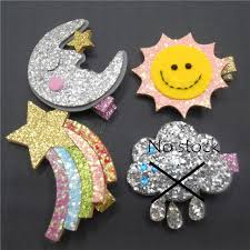 felt hair accessories 20 pcs lot handmade sun moon rainbow and cloud glitter felt hair