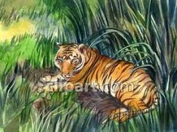tiger in the jungle royalty free clipart picture