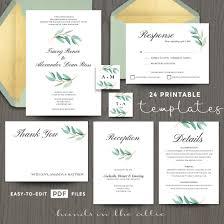 wedding stationery templates eucalyptus wedding invitation templates printable stationery