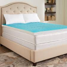 gel bed pillows bedroom beige tufted bed with gel foam mattress topper and beige