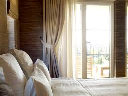 cool white bedroom curtains for double windows and nice grey wall