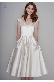 wedding dress with pockets loulou tessa satin tea length vintage 1950s inspired wedding