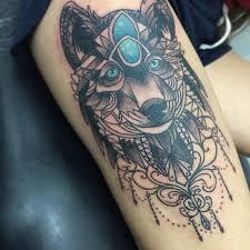 amazing blue eyes mandala wolf tattoo on side thigh