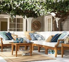 Pottery Barn Patio Furniture Love The Color Combo Hampstead Teak Sectional Set Honey
