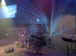 beaming church stage design ideas metal sheet with lighting