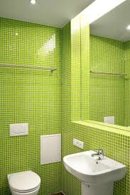 brilliant small apartment bathroom ideas with green mosaic subway