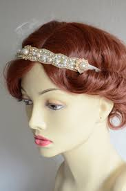 1920s headband ready to ship one of a gold gatsby headband ivory feathers