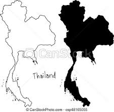 thailand vector map outline and silhouette map of thailand vector illustration