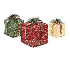pre lit burlap gift boxes set of 3 presents lighted