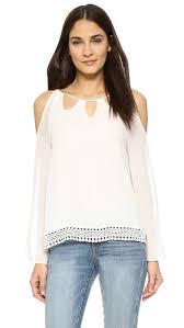 open shoulder blouse lyst moon river open shoulder blouse in white